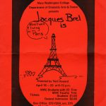 "Image of a poster for the Theatre production, ""Jacques Brel is Alive & Well & Living in Paris."""