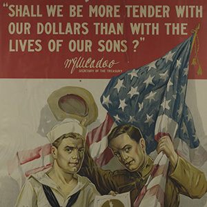Color photograph of World War One poster